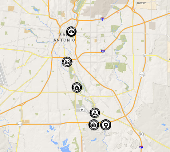 Map of San Antonio Missions locations