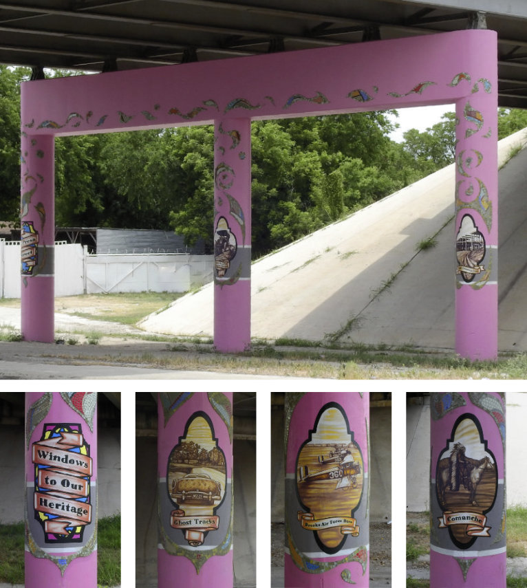 Photo of underpass columns painted with scenes depicting the areas heritage
